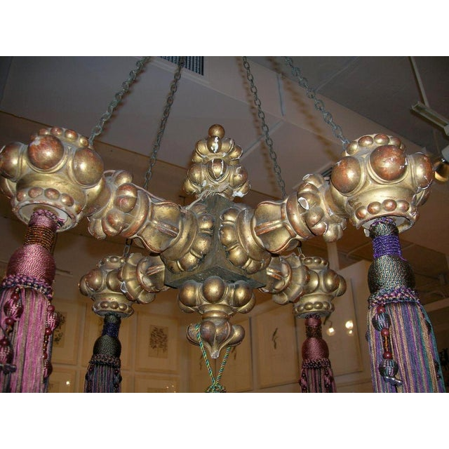 Traditional 19th Century Giltwood Chandelier with Tassels For Sale - Image 3 of 6