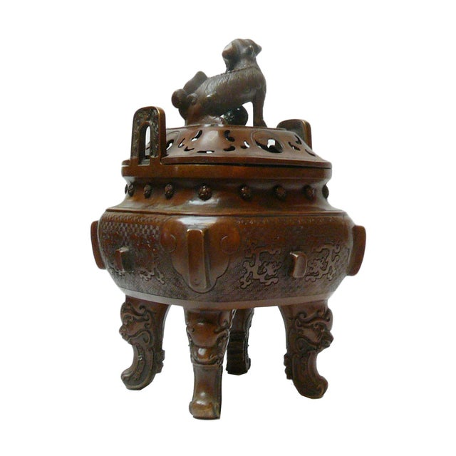 Asian Chinese Metal Handcrafted Ding Incense Burner For Sale - Image 3 of 7