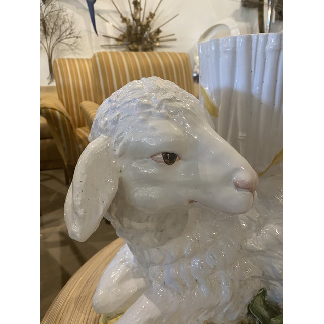 Large Vintage Ceramic Italian Faux Bamboo Ceramic Lamp Sheep Planter Pot For Sale - Image 4 of 13