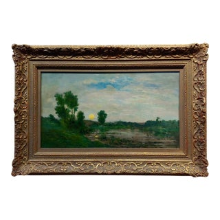 Charles Francois Daubigny - Barbizon School Sunset Landscape-19th C. Oil Painting For Sale