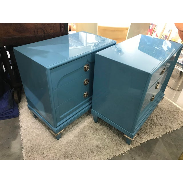 Mastercraft 1970s Mid-Century Modern Mastercraft Sky Blue Chests - a Pair For Sale - Image 4 of 9