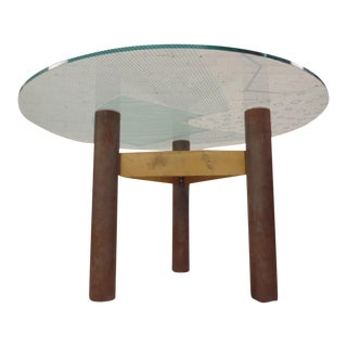 Final Markdown 1986 Modernage Miami Postmodern Glass & Brass Geometric Dining Table