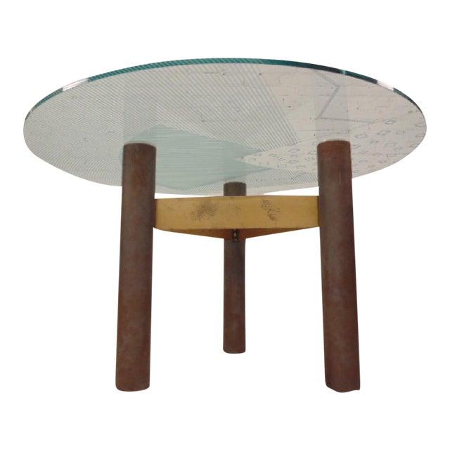Final Markdown 1986 Modernage Miami Postmodern Glass & Brass Geometric Dining Table - Image 1 of 6