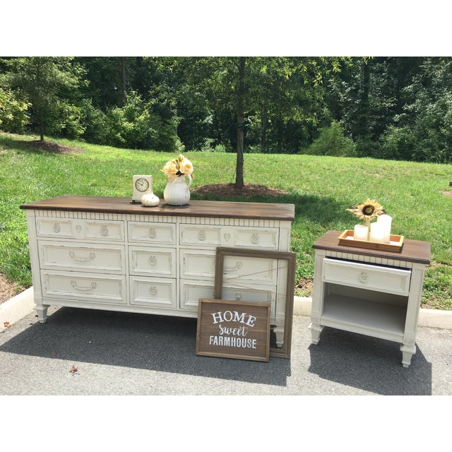 Paint Thomasville Walnut 9-Drawer Triple Dresser and Nightstand - Set of 2 For Sale - Image 7 of 13