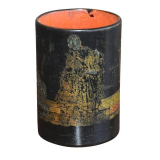 Black & Gold Chinoiserie Container For Sale