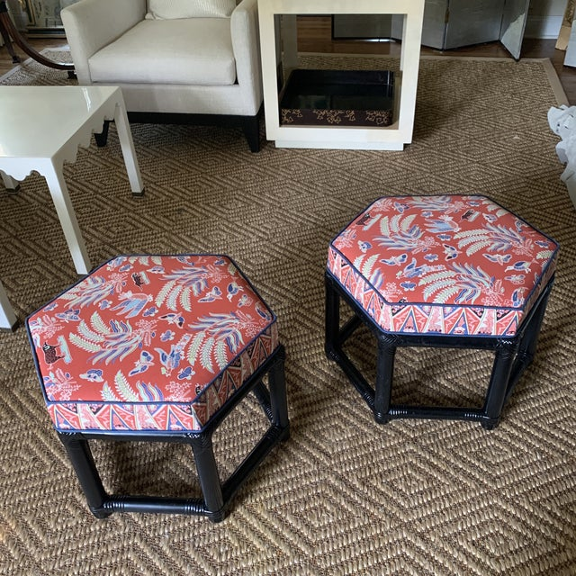 Black 1960s Willow & Reed Chinoiserie Rattan Octagonal Ottomans- a Pair For Sale - Image 8 of 13