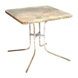 Aged Outdoor Metal Table For Sale