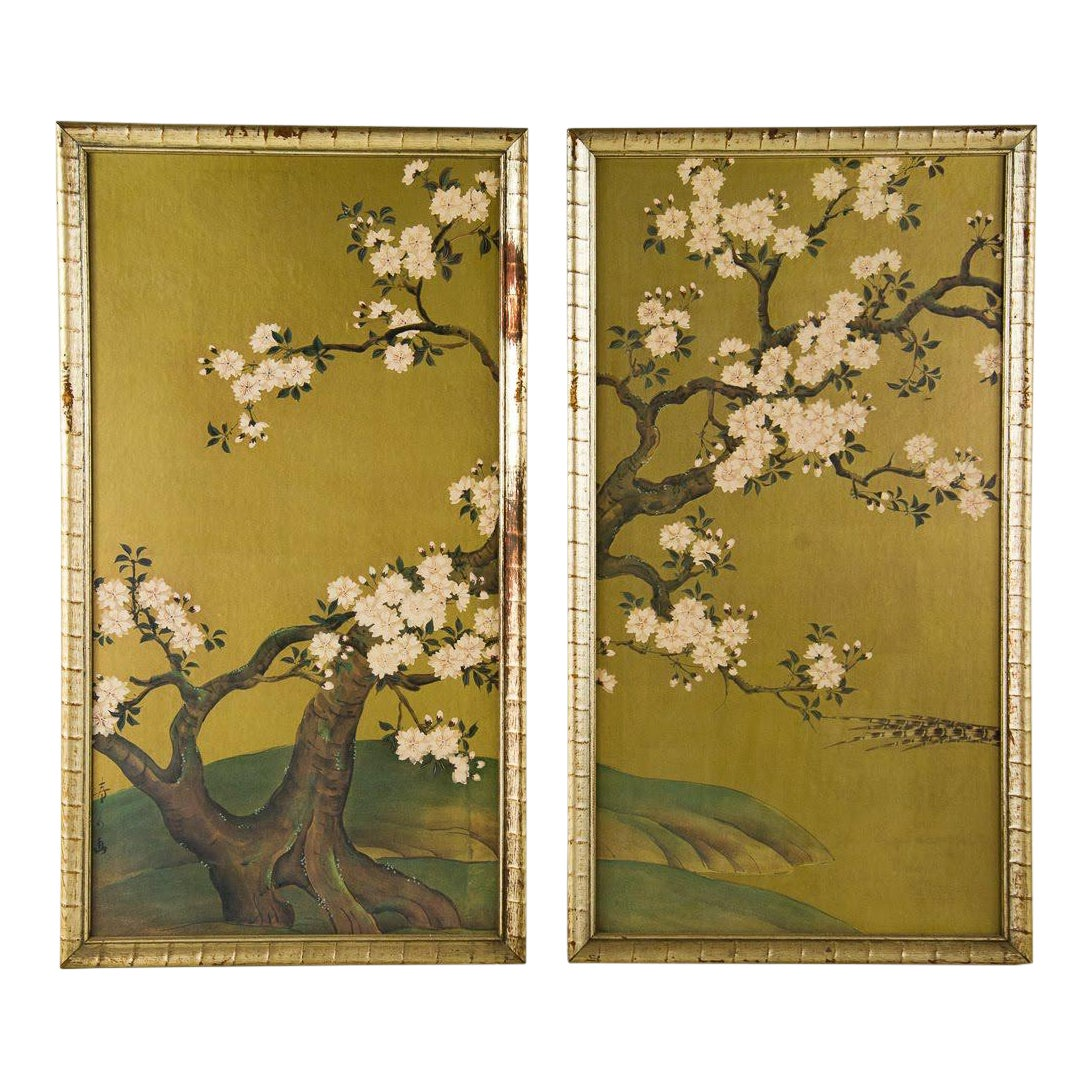 1960s Oriental Cherry Blossom Tree Prints By Turner Mfg Co A Pair Chairish
