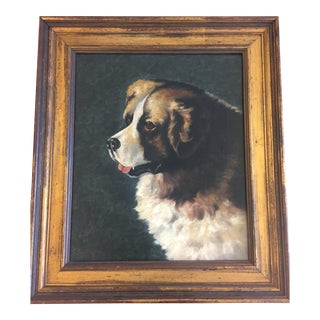 Vintage Mid Century St. Bernard Oil Painting For Sale