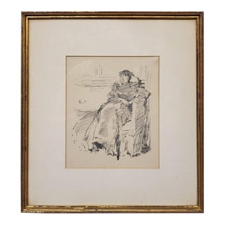 Woman in a Dress a Lithograph by James Abbott McNeill Whistler Circa 1894 For Sale