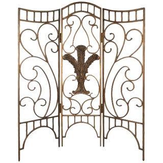 Beautiful Ornate Steel Decorator's Screen For Sale