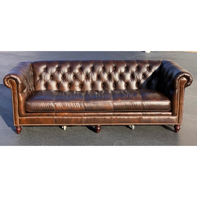 Tommy Bahama Manchester Leather Sofa For Sale - Image 13 of 13