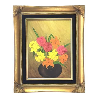 Gold Framed Lilies, Tulips & Daffodils Painting