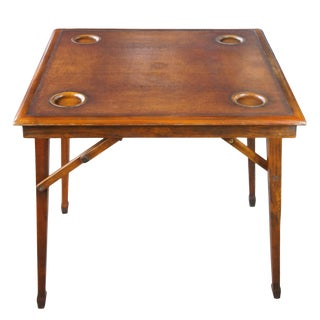 British Campaign Mahogany Tooled Leather Folding Card Game Table For Sale