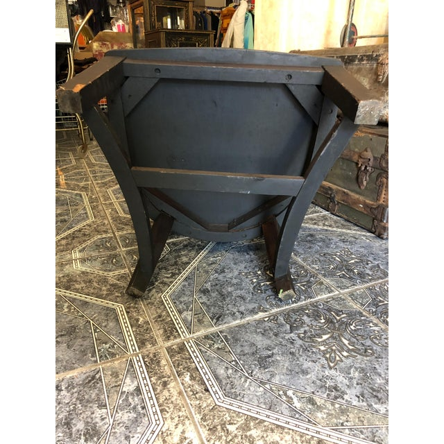 1940s Vintage Stout and Wide Wood and Leather Studded Bowed Back Reading Chair For Sale - Image 9 of 12