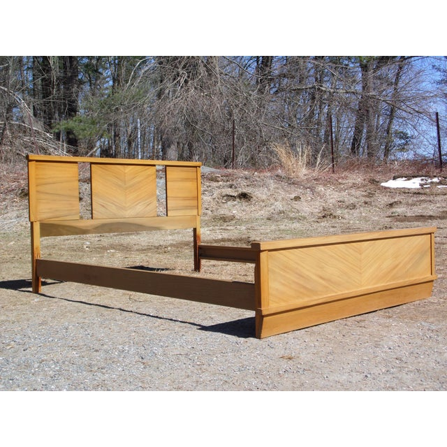 1950s Vintage 1950's Mid Century Modern Art Deco style Double Full Bed Frame For Sale - Image 5 of 10