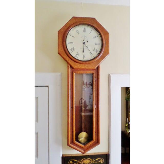 Antique Seth Thomas Regulator No. 18. Solid Oak Wood Wall Regulator Clock For Sale - Image 10 of 10