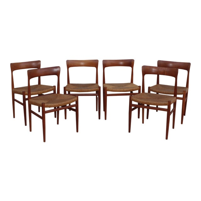 1950's Danish Teak Sculptural Dining Chairs - Set of 6 For Sale