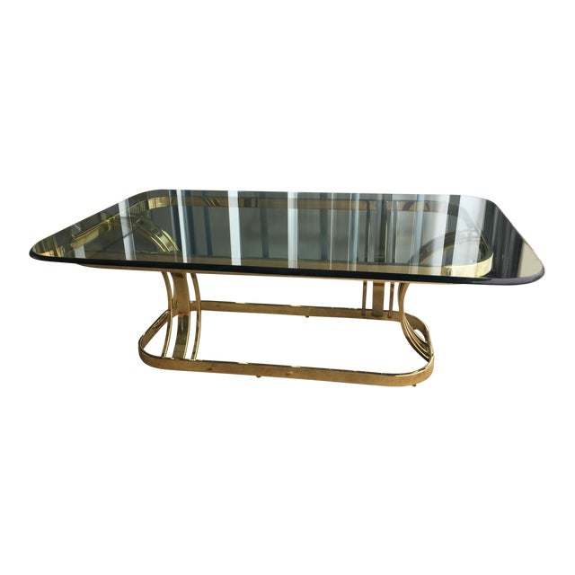Hollywood Regency Sculptural Gold & Glass Coffee Table - Image 1 of 8