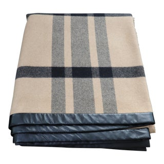 Burberry Camel & Black Cashmere Throw With Leather Trim For Sale