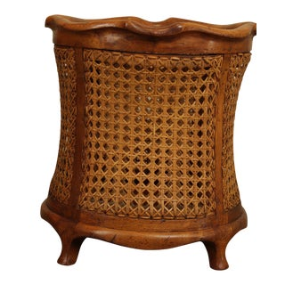 Italian Handcrafted Yew Wood & Natural Cane Waste Basket For Sale