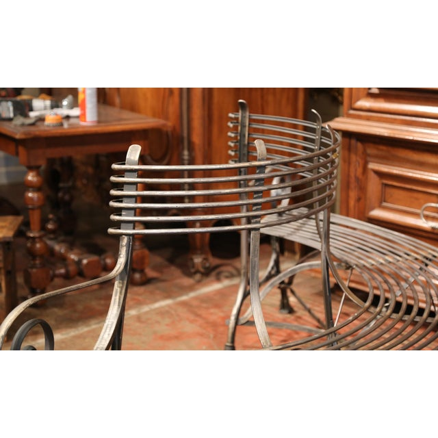 Gray French Polished Iron Curved Around the Tree Shaped Garden Bench Signed Sauveur For Sale - Image 8 of 10