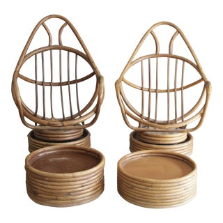 Rattan Swivel Chairs With Ottomans, 2 Sets
