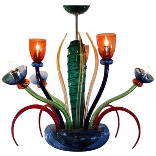 Colorful Italian Artimede Ve-Art Glass Chandelier in the Manner of Gio Ponti For Sale