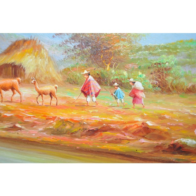 1950s Ecuadorian Mountain Village Painting For Sale - Image 4 of 7