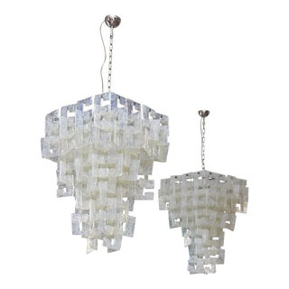 Pair of Italian Modern Opalescent Glass Chandeliers, Mazzega For Sale