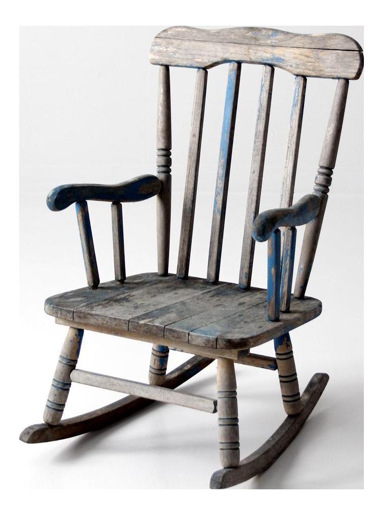 blue rocking chair. Vintage Distressed Blue Childrens Rocking Chair
