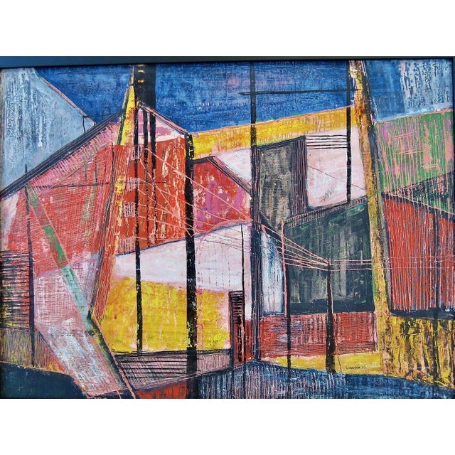 Mid Century Modernism strikingly beautiful gouache, oil/watercolor painting by California artist Paul Lingren, signed and...