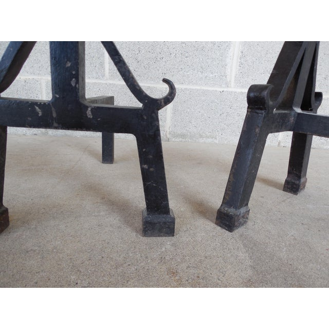 Vintage Hand Forged Mid Century Style Andirons - Pair - Image 6 of 7