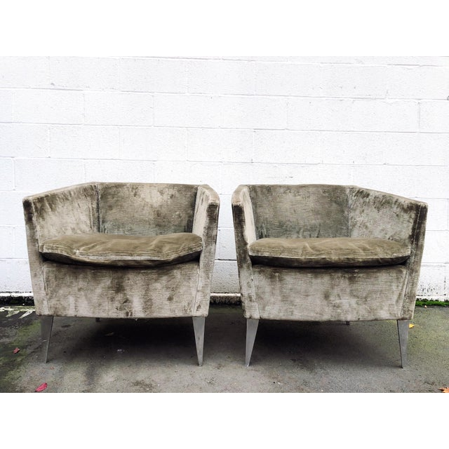 Extremely well crafted pair of club chairs in a grey/sage green crushed velvet by Bernhardt Furniture Co. The color is a...
