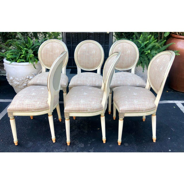 French Set of 6 French Louis XVI Balloon Back Dining Chairs For Sale - Image 3 of 10