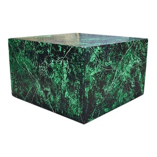 Emerald Green Faux Malachite Finish Low Wood Square Coffee or Cocktail Table For Sale