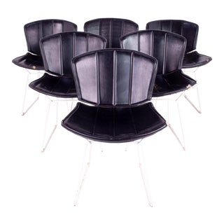 Mid Century Harry Bertoia for Knoll White & Black Leather Dining Chairs - Set of 6 For Sale