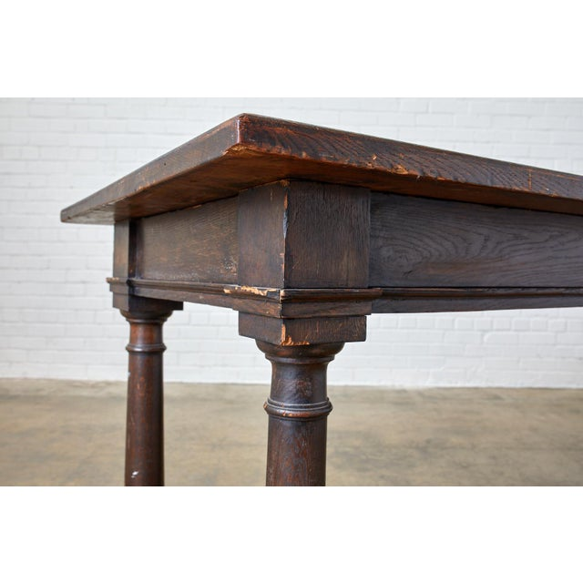 19th Century English Oak Refectory Dining Banquet Table For Sale - Image 9 of 13