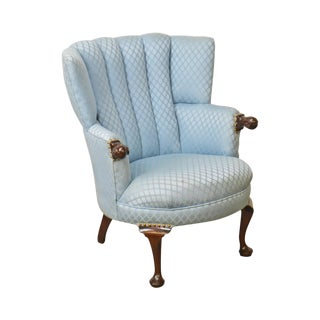 Custom Solid Mahogany Frame Blue Fan Back Wing Chair For Sale