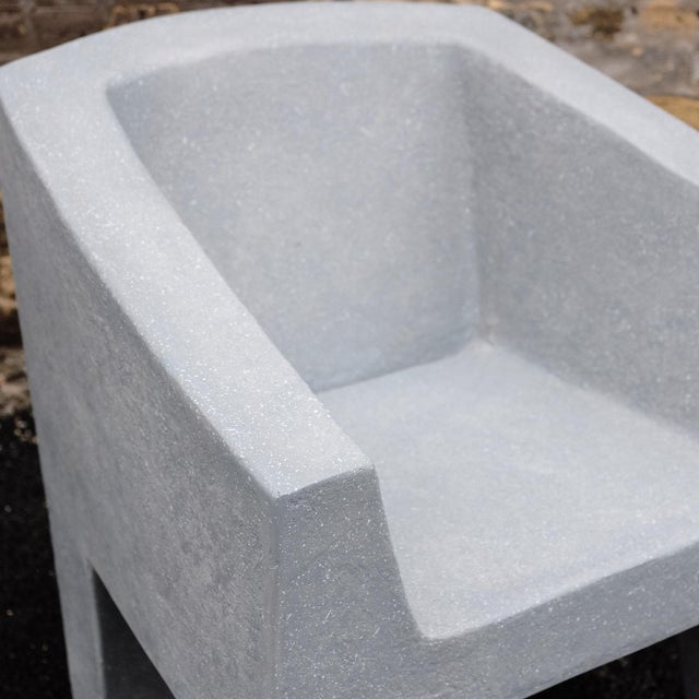 Zachary A. Design Gray Stone Cast Resin 'Van Eyke' Club Chair For Sale - Image 4 of 9