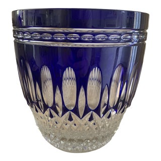 Large Waterford Clarendon Cobalt Cut to Clear Ice Bucket For Sale