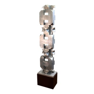 Isaac Kahn Signed Geometric TOTEM in Metal on Base For Sale