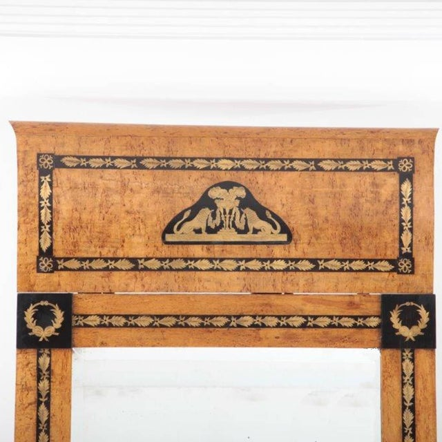 Egyptian Revival 19th Century Russian Beechwood Mirrors With Consoles - a Pair For Sale - Image 3 of 6