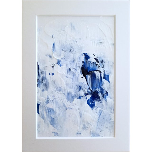 Bubble Bath Modern Abstract Blue & White Original Painting - Image 3 of 3