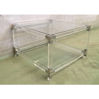 Midcentury Square Lucite Coffee Table With Chromed Metal Details Preview