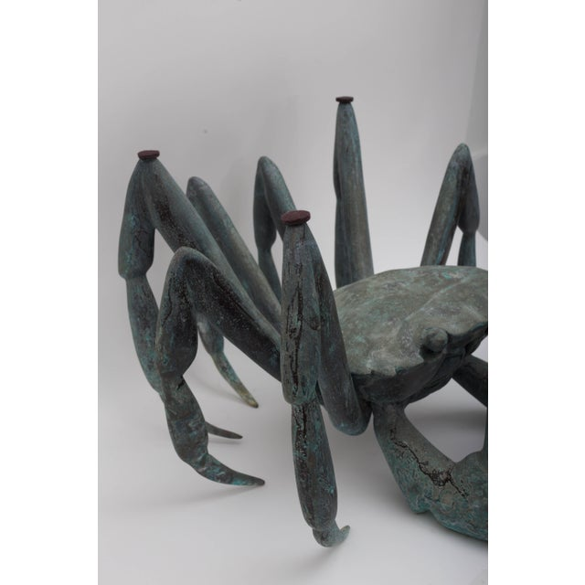 Metal Bronze Crab-Form Sculpture Cocktail Table With Round Glass Top For Sale - Image 7 of 9