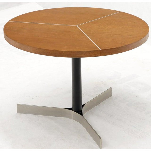 Aluminum Inlay Walnut Top Tri Legged Side End Table For Sale - Image 11 of 12