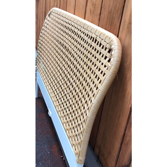 Vintage Boho Chic Full Size Woven Cane Headboard For Sale - Image 4 of 7