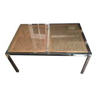 Design Institute America Chrome & Cane Dining Table For Sale