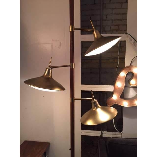 Mid-Century Brass & Wood Tension Pole Lamp - Image 9 of 11